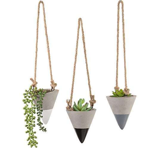 MyGift 4-Inch Cone-Shaped Clay Hanging Planters with Twine Rope, Set of 3 ()