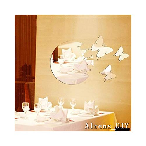 - Silver 3 Butterflies Flying from The Round Moon Sun Crystal Reflective DIY Mirror Effect 3D Wall Stickers Home Decoration Decor Mural Decal adesivo de Parede Removable