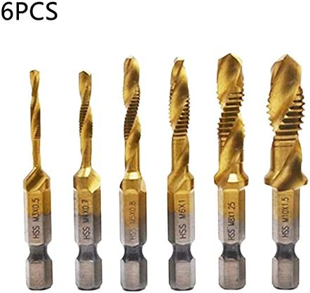 6本の六角シャンクメトリック2-in-1複合タップセット高速度鋼多機能複合タップ六角シャンクドリルビットセット-ゴールド