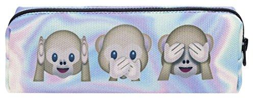 Kukubird Varios Emoji Animal Patrón Grabado Lápiz Caso Con Bolsa De Polvo De Kukubird Holo Monkeys