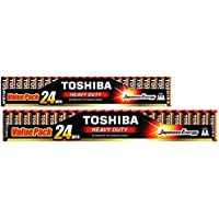 TOSHIBA Heavy Duty 24 AA Battery & 24 AAA Battery Value Pack Offered By Eze-Mart (Total 48 Batteries)