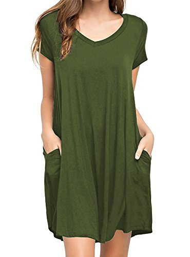 Womens Loose T-Shirt Dress with Pocket Short Sleeve Swing Tunic Long Top