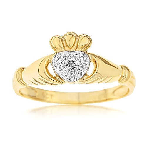 Kareco 9ct Yellow Gold Diamond Set Celtic Claddagh Ring Size O