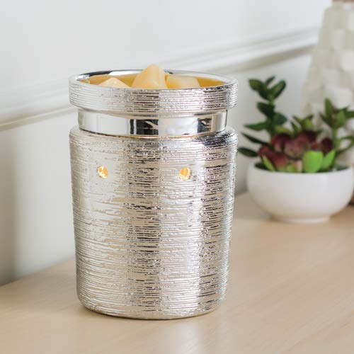 CANDLE WARMERS ETC. Illumination Fragrance Warmer- Light-Up Warmer for Warming Scented Candle Wax Melts and Tarts or Essential Oils to Freshen Room, Brushed Chrome