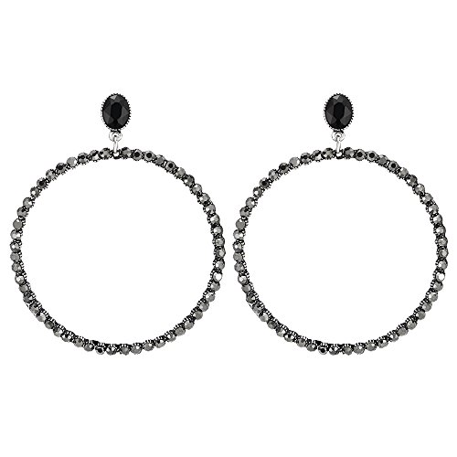 Dazzling Party Prom Dress Black Crystal Rhinestone Large Open Circle Statement Earring, Dangle Drop -