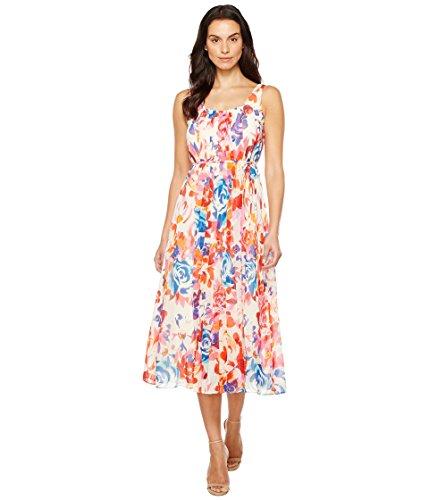 Donna Morgan Women's Pleat Front Chiffon Maxi Dress, Whitecap Grey/Passion Pink/Papaya Multi, 8