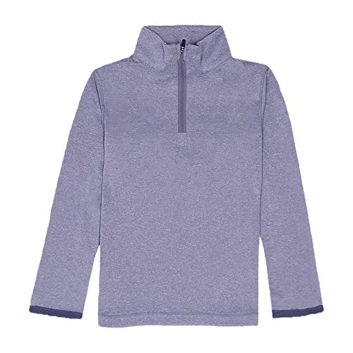 WIWOKOMO Boy's 1/4 Zip Athletic Pullover Shirts Sweatshirts Sports Running Workout Long Sleeve for Youth Gray,Small