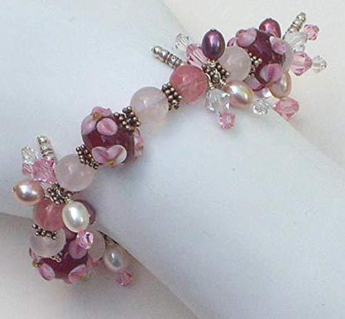 Sterling Silver Cranberry & Pink Lamp Work Pearl Bracelet OOAK