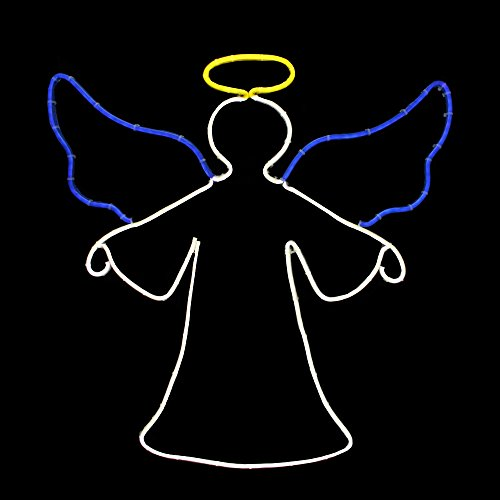 """20"""" Blue and White Angel with Halo Neon Christmas Window Silhouette"""