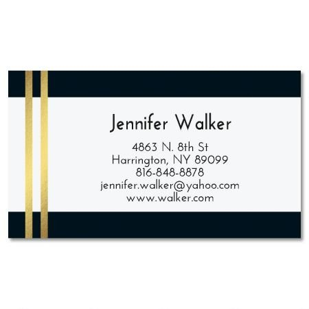 Black and Gold Stripe Foil Business Cards - Set of 250 2'' x 3-1/2 custom business card design; 80# Cover Stock, Opaque, Matte