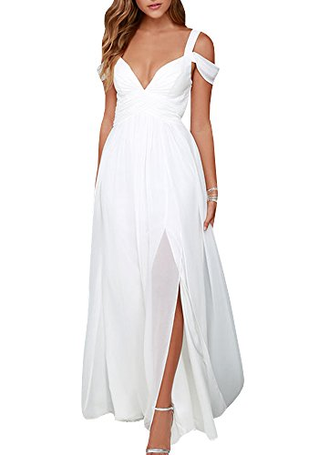 Beautife Women Cold Shoulder Short Sleeve V Neck Halter Bridesmaid Long Maxi Dress