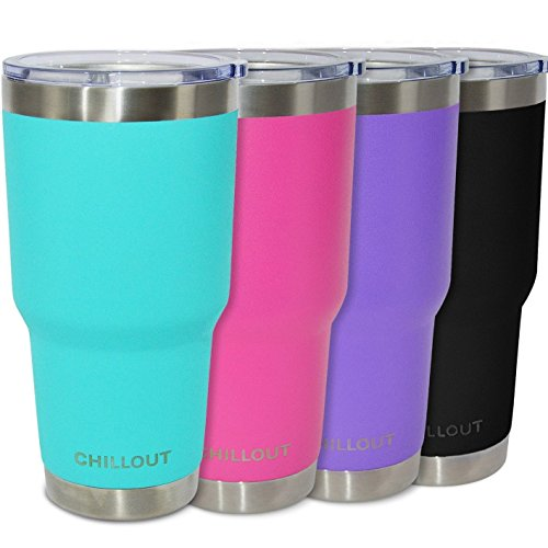 Stainless Steel Tumbler 30 oz with Splash Proof Lid & Gift Box - Premium Quality Double Wall Vacuum Insulated Large Travel Coffee Mug for Hot & Cold Drinks - Powder Coated Tumbler, Aqua Blue Tumbler