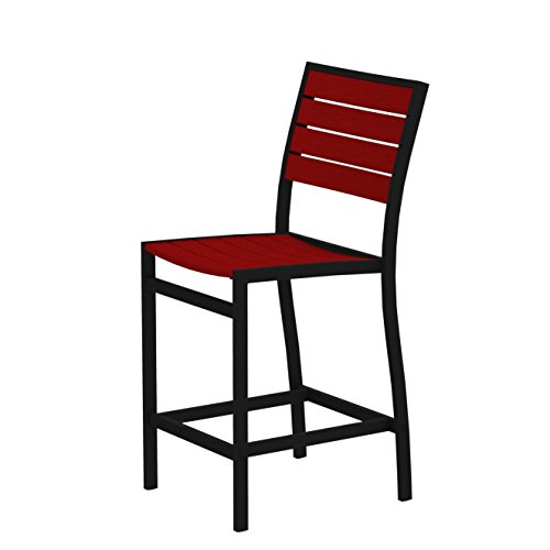 POLYWOOD A101FABSR Euro Counter Side Chair, Textured Black/Sunset Red