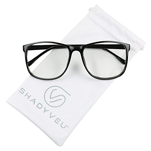 ShadyVEU - Retro Fashion Over Size Round Thin Nerdy Novelty P3 Aviator Eye Glasses (Black Frame, - Sizes Aviator