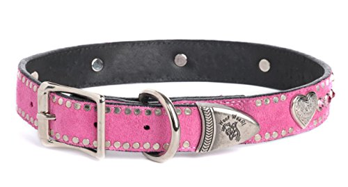 Dog Collar 100% Suede Italian Leather with Decorative Rose Swarovski Crystals and Silver Heart Ornaments - Hot Pink - 1