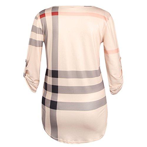 Aa en Shirt Chemisier 3 Femmes Plaid Shinekoo Top Vrac Rose col V 4 Longue Manche avfSqOn7w