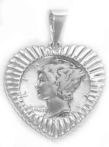 Mercury Dime Heart (Sterling Silver US Mercury Dime Coin Bezel Heart Pendant with Coin Coin Bezel Frame)