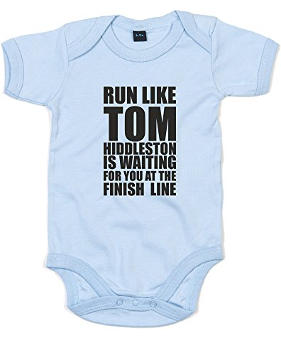 Run Like Tom Hiddleston, Printed Baby Grow - Dusty Blue/Black 12-18 Months
