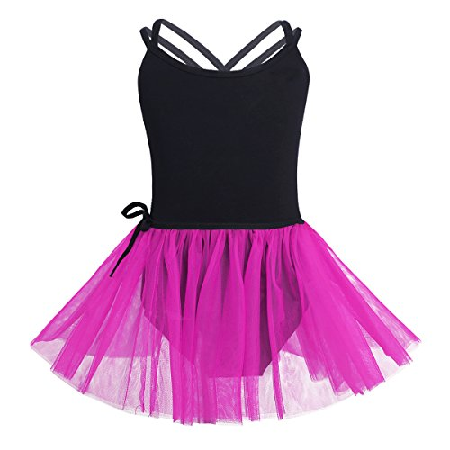 iiniim Girls Cross Strap Gymnastic Camisole Leotard with Tutu Skirt Ballet Dress Dance Costumes Black&Rose (Dance Team Costumes Competition)