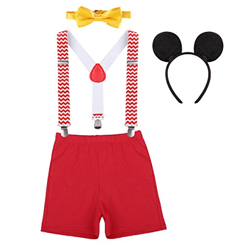 Baby Boy 1st Birthday Cake Smash Mickey Outfits Party Suspenders Diaper Nappy Cover Bow Tie Mouse Costume Headband 3pcs Clothes Set Chevron Striped+Red
