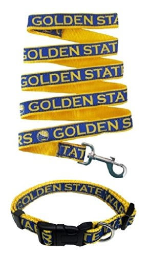Golden State Warriors Nylon Collar for Pets and Matching Leash (NBA Official by Pets First) Size Medium by Pets First