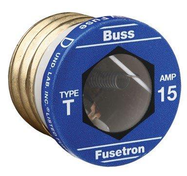 Fusetron Plug Fuse - Bussmann T-15 15 Amp Type T Time-Delay Dual-Element Edison Base Plug Fuse, 125V UL Listed