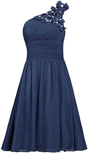 Kleider Gowns Kurz Schulter Brautjungfer Damen Fanciest Blue Brautkleider Eine Navy Flowers Party WnSzTq