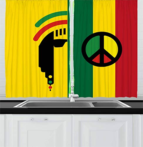 Ambesonne Rasta Kitchen Curtains, Iconic Barret Reggae and Jamaican Music Culture with Peace Symbol and Borders, Window Drapes 2 Panel Set for Kitchen Cafe, 55 W X 39 L Inches, Red Green Yellow