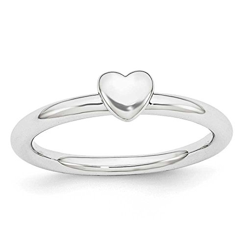 Plated Heart Puffed (Rhodium Plated Sterling Silver Stackable Expressions Puffed Heart Ring - Size 6)