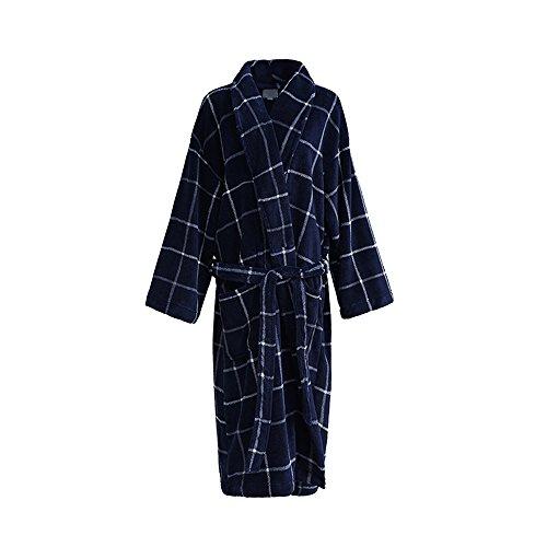 - AME Mens Long Robe Full Length Big Tall Luxury Robe Soft Flannel Size 2XL (Navy Blue,Plaid)