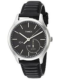 Timex Men's TW2P93200 IQ+ Move Activity Tracker Black Leather Strap Watch
