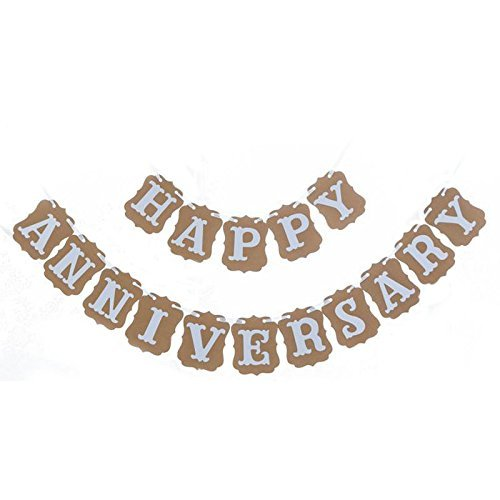 Anniversary Party Decorations,Kraft Paper HAPPY ANNIVERSARY Bunting Banner,11 X 13 CM Anniversary Party Supplies Photo Props