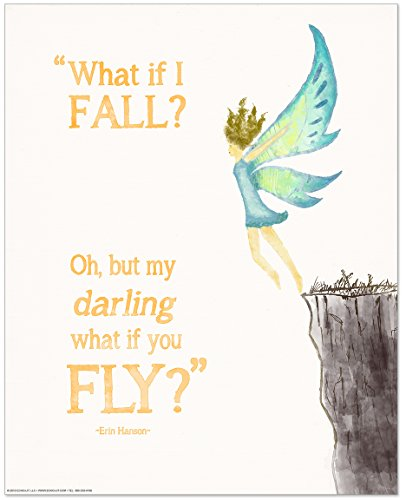 ECHO-LIT Oh, But Darling, What if You Fly? Children's Literature Inspirational Quote Poster for Home, Classroom or Library by ECHO-LIT
