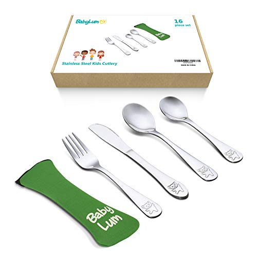 BabyLum 16 Piece Utensils Set for Kids, Stainless Steel Cutlery Flatware, Silverware for Toddler and Child, Total 4 Place Settings with 4 Knives, 4 Forks, 4 Spoons, 4 Dessert Spoons, 1 Green Soft Case