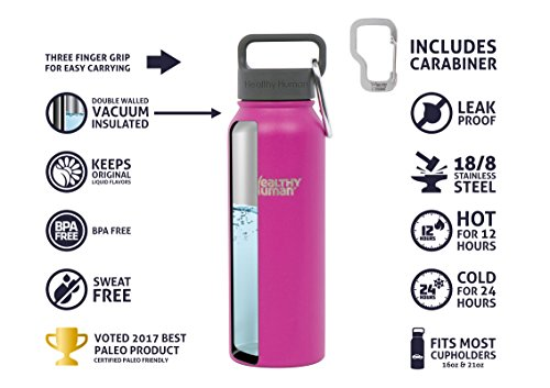 Healthy Human Insulated Stainless Steel Water Bottle Stein - Cold 24 Hrs/Hot 12 Hrs - Double Walled Vacuum Thermos Flask with Hydro Guide & Carabiner - 16 oz Mulberry by Healthy Human (Image #4)