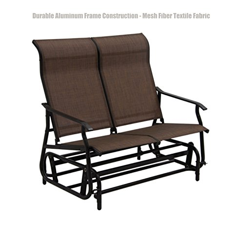 Patio Furniture Outdoor Indoor Glider Bench Durable Aluminum Frame Construction Swing Rocking Mesh Fiber Textile Fabric Seat Porch Pool Garden Chair - Loveseat Brown #1412 (Orlando Outdoor Outlet Furniture)