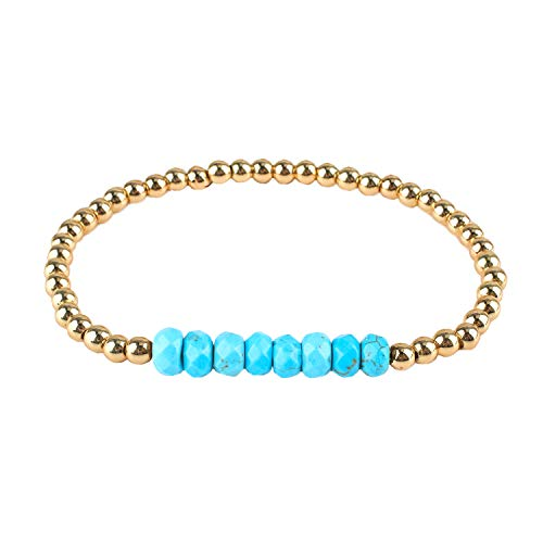 Gold Bead Stretch Bracelet - KELITCH Created Turquoise Beaded Bracelet Handmade Braided Stretch Bracelets Cuff Fashion Jewelry (Blue A)