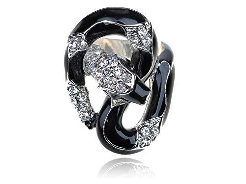 Silver Tone Black Enamel Body Snake Clear Rhinestone Crystal Sized Jewelry Ring