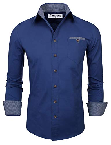 Cheap TAM WARE Mens Classic Slim Fit Contrast Inner Long Sleeve Dress Shirts TWNMS310S-8219-BLUE-US XXL tom's ware