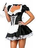 JJ-GOGO Women's French Maid Costume Sexy Black Satin Halloween Fancy Dress S-5XL (XXL)