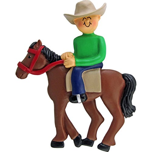 Personalized Horseback Riding Christmas Tree Ornament 2019 - HorseMale Equestrian with Western Hat on Trail Lesson Teacher Race Sports Activity - Free Customization (Ornament Rider Knight)