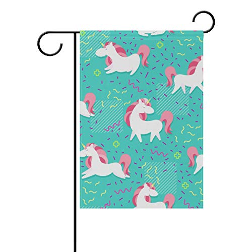 WIHVE Polyester Garden Flag, Magic Unicorn with Rainbow Horn Hearts Wings Memphis Double Sided Holiday Flag for Party Home Outdoor Decoration 12 x 18 Inches -
