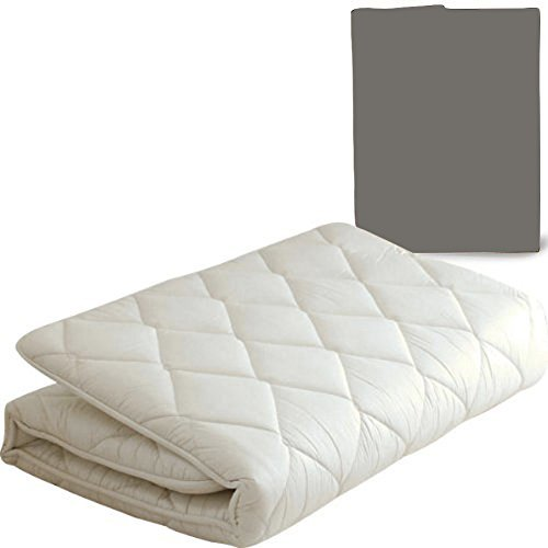 EMOOR Japanese Traditional Futon Mattress ''Classe'' with Mattress Cover (Gray), Full Size. Made in Japan