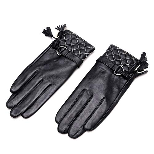 Zcx Ladies Gloves Autumn Winter Thicken Warm Gloves Lingge Sheepskin Hand Fashion Fringe Finger Gloves (Color : Black, Size : XL) ()