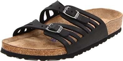 Birkenstock Women's Granada Soft Footbed Sandal,Black Oiled Leather,36 N EU