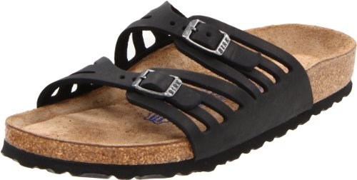 Birkenstock Women's Granada Soft Footbed Sandal,Black Oiled Leather,40 N - Granada Leather Black