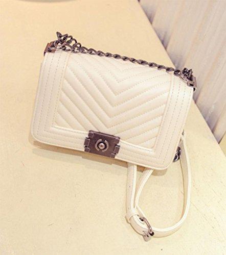 MEILI Bolsos de mano bolsos V-carta pequeño fragante bolso de cadena hombro Messenger bag , trumpet rice white trumpet rice white