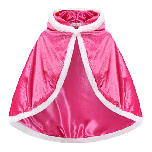 iTVTi Princess Cloak with Hood Girls Cape Kid Toddler Costume Dress up for Halloween Christmas Carnival Cospaly Pink