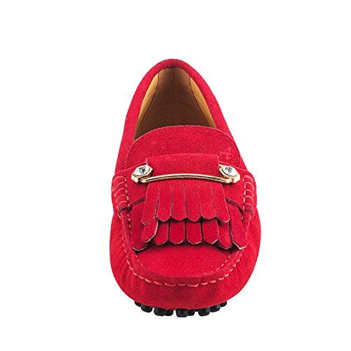 D7066 Bommel Leder und Rot Shenduo Mokassins Metallschnallen mit Damen Slippers Schuhe Casual RnzqxzZ4Fv