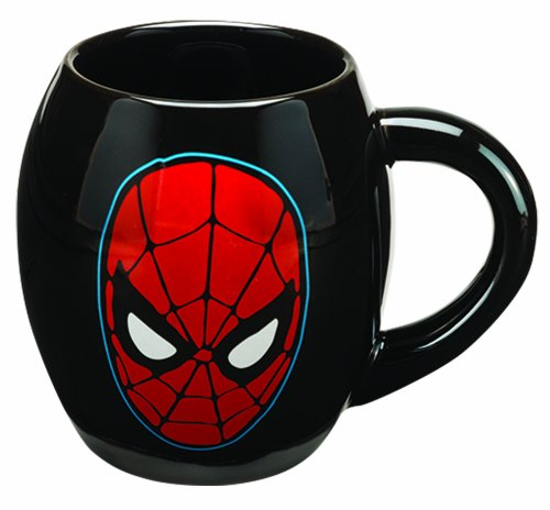 Vandor 26163 Marvel Spider-man 18 oz Oval Ceramic Mug, Black and Red